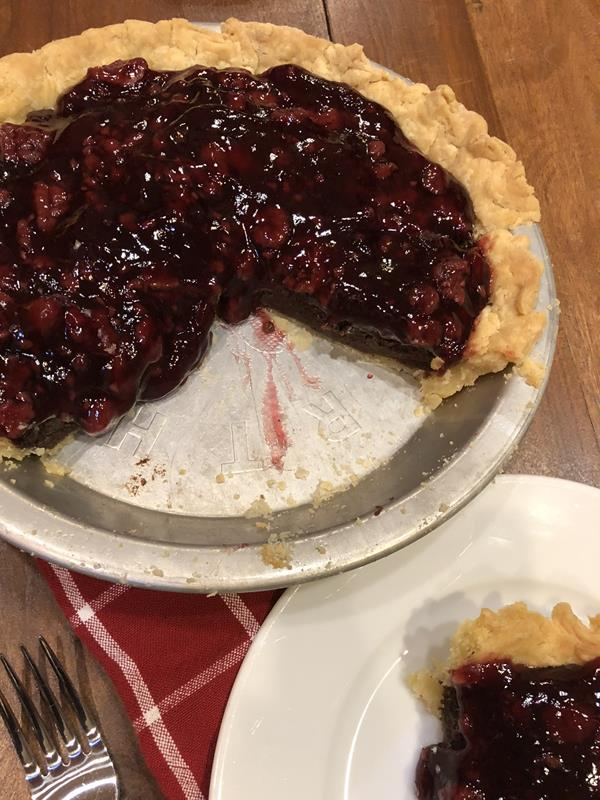 Chocolate Raspberry Pie with gluten free pie crust