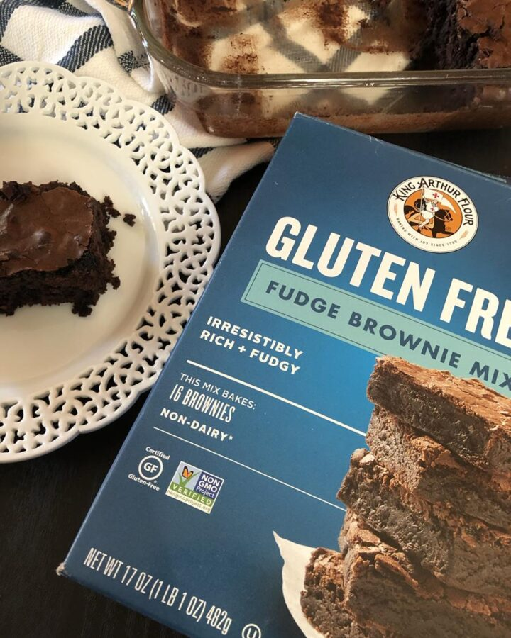 King Arthur Gluten Free Brownie Mix box and brownie on white plate