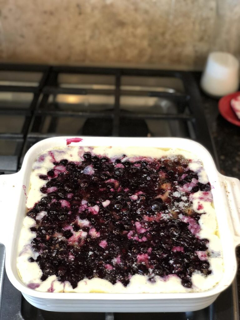 Gluten Free Blueberry Cobbler blueberries and batter