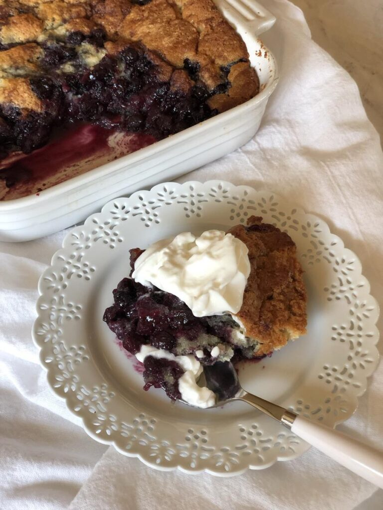 Gluten Free Blueberry Cobbler with whipping cream