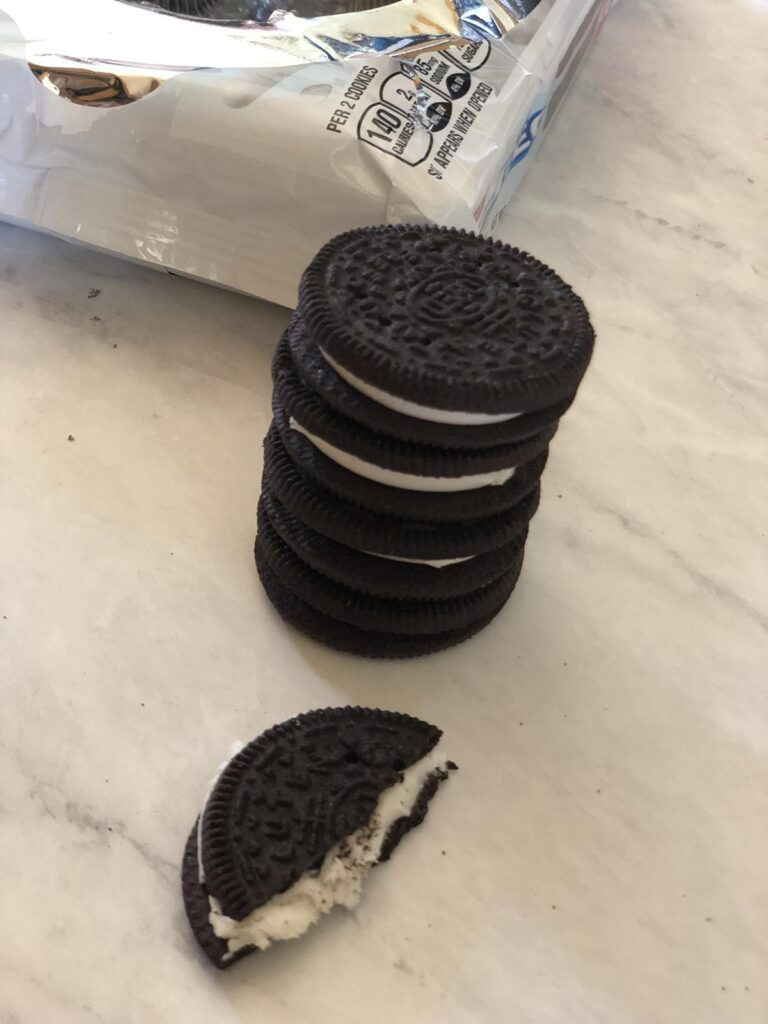 Gluten Free Oreo Cookies stacked plus a review
