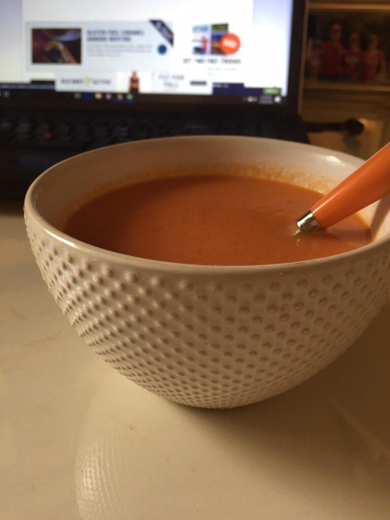 gluten free tomato soup in bowl