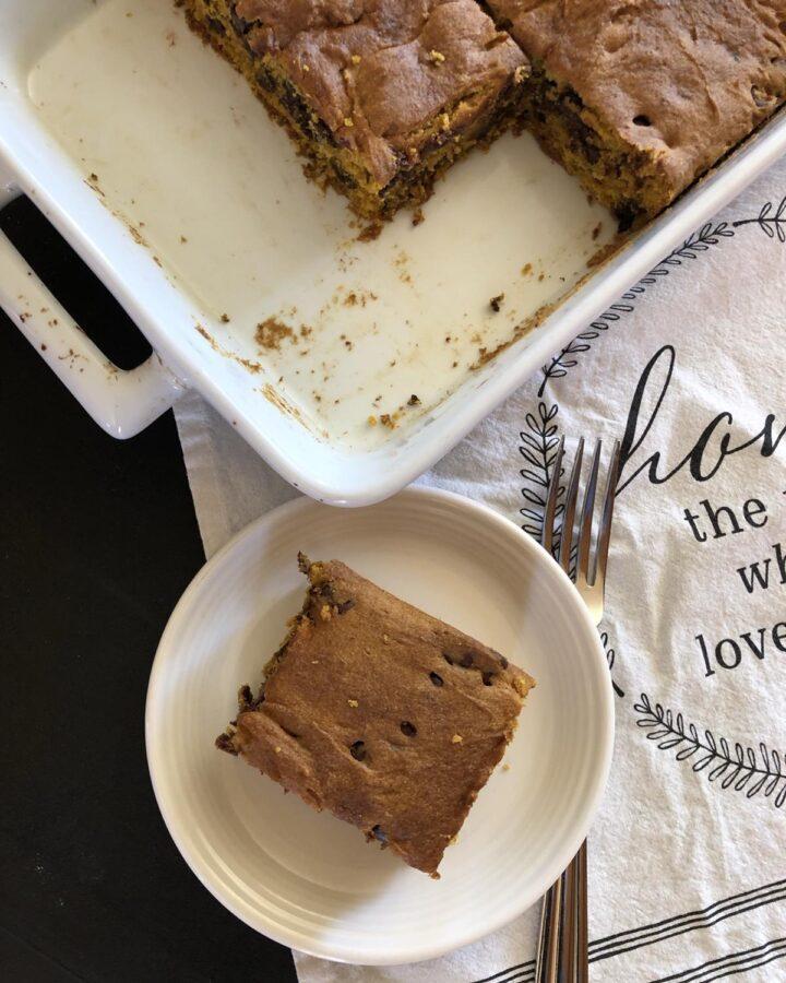 Gluten Free Chocolate Chip Pumpkin Bars Recipe
